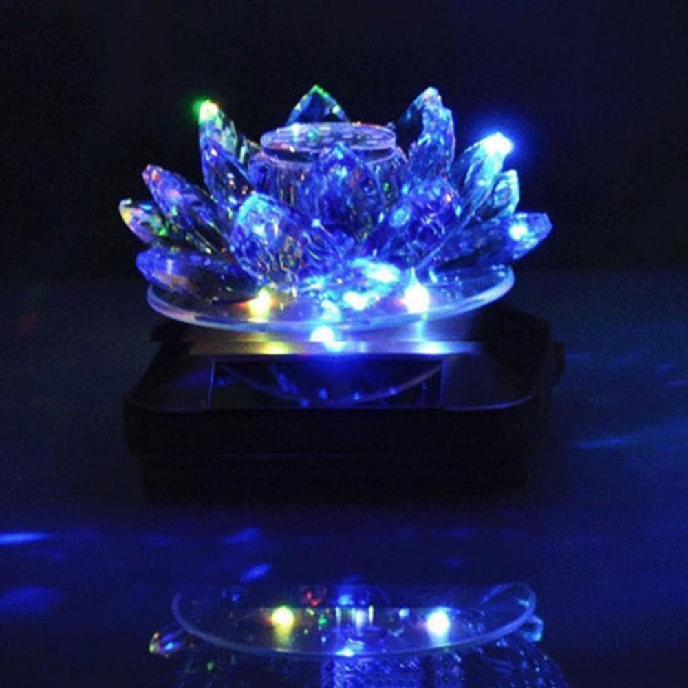 Parfum de voiture solaire Seat synthétique cristal Rotation Décoration Accessoires décoration de voiture avec des lumières LED