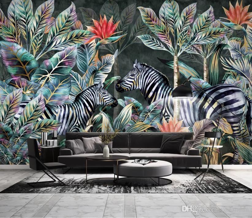 Özel 2020 duvarlara 3 d New dekorasyon için Hindistan cevizi ağacı zebra orman peyzaj 3D stereo arka plan duvar kağıdı duvar kağıdı 3D fotoğraf