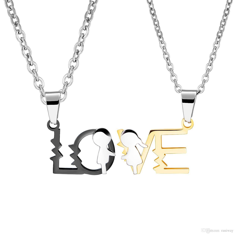 2шт его ее соответствующий набор Титан Нержавеющая Сталь Любовь головоломка пара кулон ожерелье юбилей для любовника идеальные подарки
