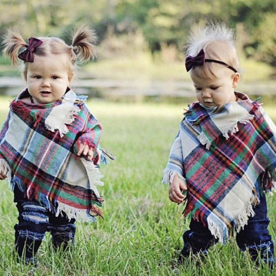 3-5 Years Kids Toddler Kids Baby Girls Boys Winter Warm Cotton Plaid Wool Tassels Scarf Tippet Cappa Square Cloth Scarves