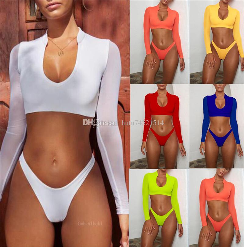 2019 Turuncu Yüksek Kesim İki parçalı Suits Mesh Uzun Kollu Brezilyalı Bikini Push Up Mayo Seksi Thong Mayo Kadınlar Mayo