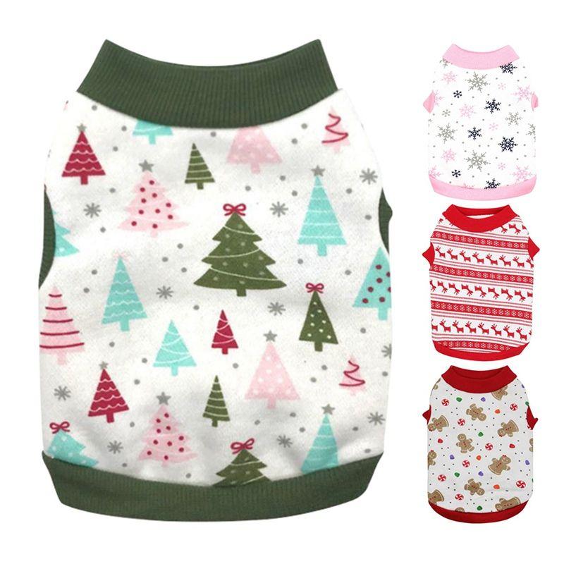 Pet cani senza maniche Tops Natale Carnevale Fleece Costume Christmas Tree Vest T-shirt Abbigliamento Gonne stampa