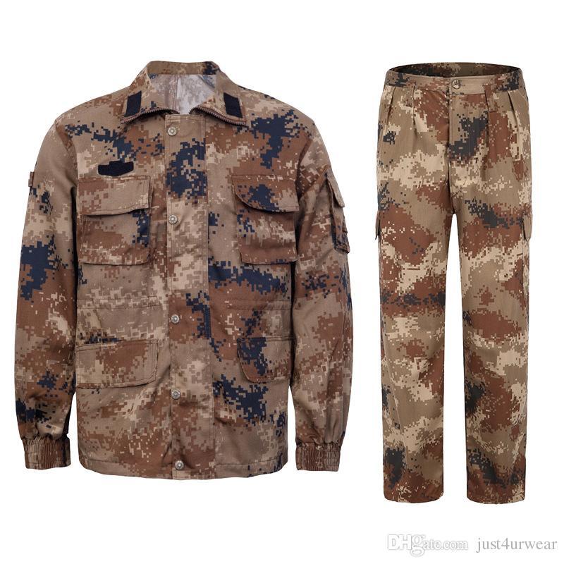 Homem Outono-Inverno roupas de treinamento Outfits Camouflage Botão Calças Casacos casacos longos 2 PCS Ternos Sets Womens soltas Mens Vestuário Outdoor