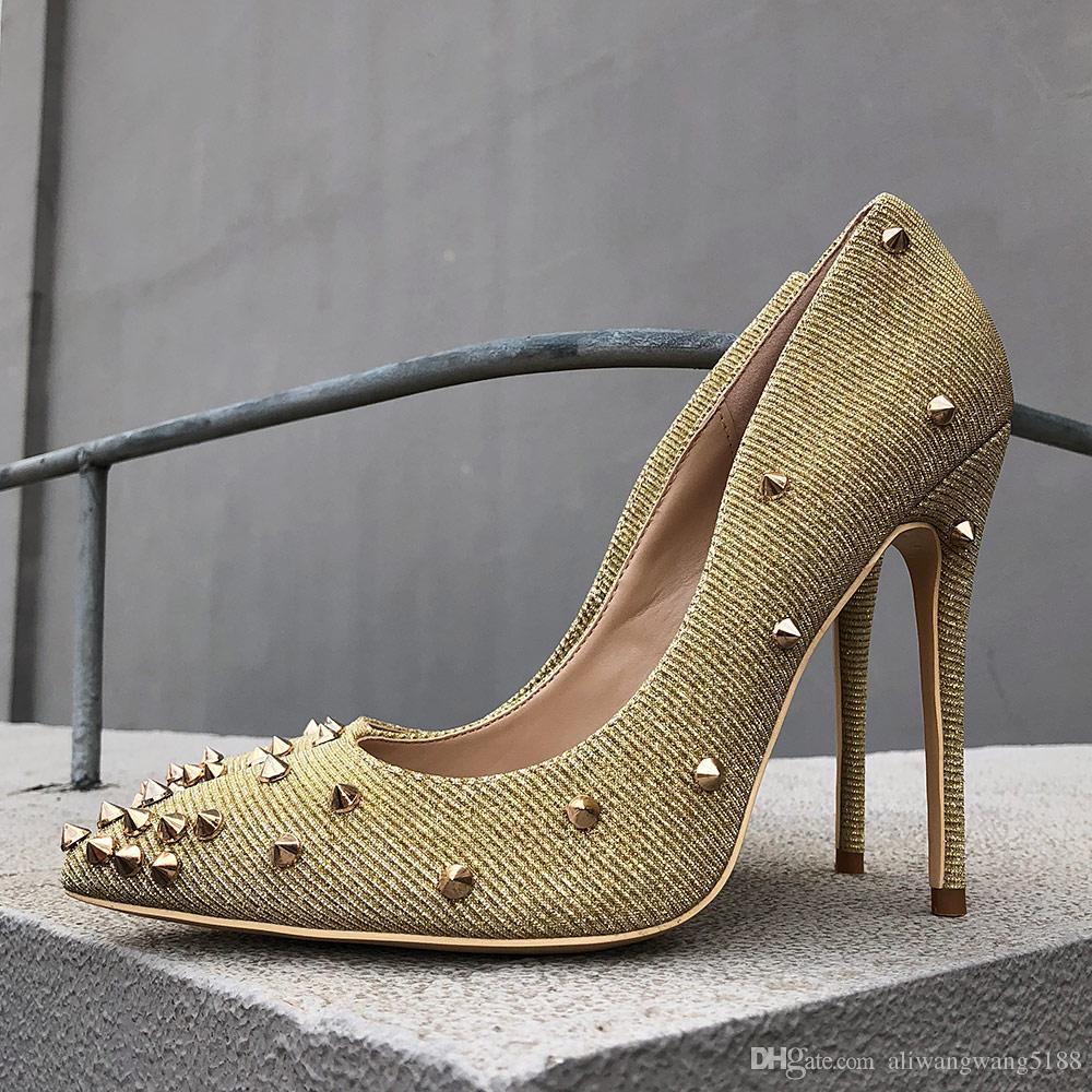 2019 freie Frauen Verschiffen Art und Weise Dame sexy Gold Glitter Spikes Poined Zehen hoch fersen Schuhe Stiletto Schuhe Pumpe 12cm 10cm 8cm
