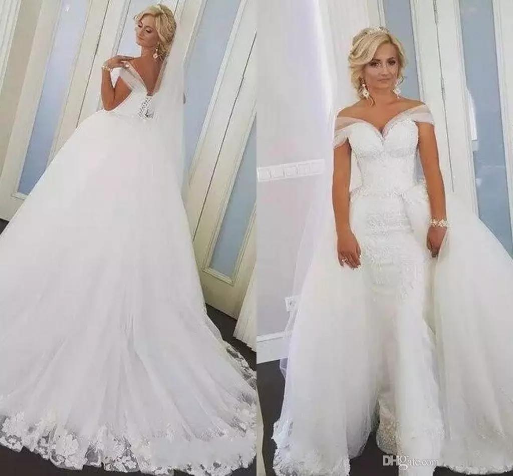 Vestidos de novia de encaje de la sirena de la sirena 2019 vestidos de novia desmontable con caricias Sheer Straps Vestidos nupciales