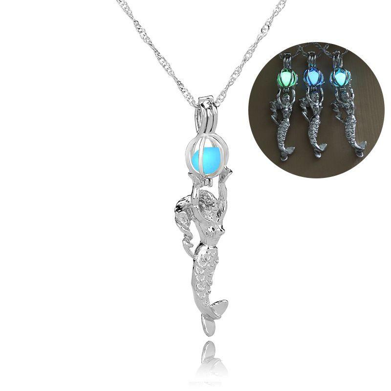 Karanlıkta Glow Mermaid Kolye Floresan Işık Mermaid Kadınlar için Madalyon Kolye Zinciri Moda Takı