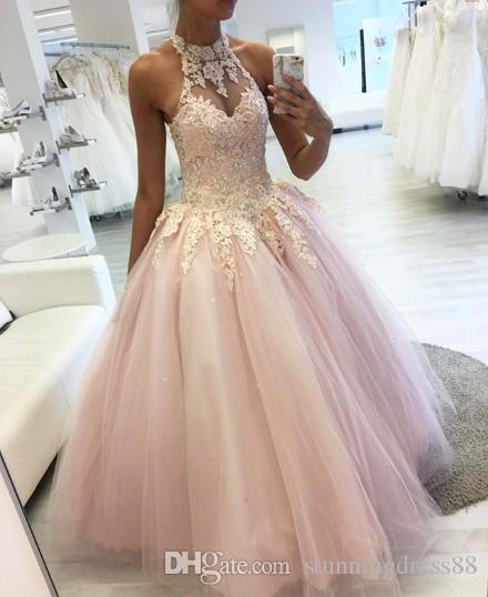 Rosa claro halter del cordón de Quinceañera vestidos de baile apliques de tul bola vestido plisado de longitud de noche formal del vestido de los vestidos barato