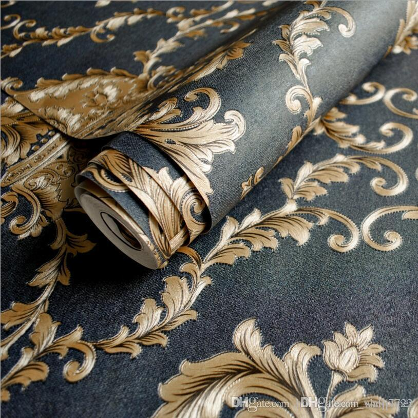High Grade Black Gold Luxury Embossed Texture Metallic Damask wallpaper for wall Roll waterproof washable Vinyl PVC Wall Paper