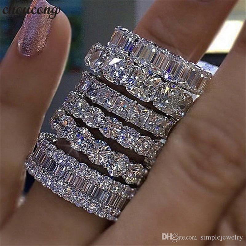 choucong 손으로 만든 손가락 반지 925 스털링 실버 다이아몬드 약혼 웨딩 밴드 반지 여성 남성 쥬얼리