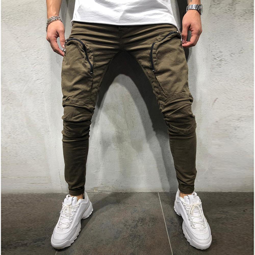 overoles Pantalones Moda Empalme Múltiples bolsillos Harem Joggers2018 Pantalones Pantalones masculinos Elasticidad Pantalones sólidos Pantalones de chándal de gran tamaño