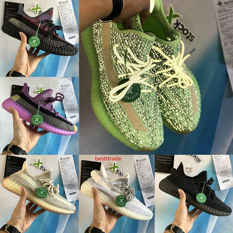 Nuovo Yecheil yeehu uomini donne Cloud White Nero Statico 3M riflettenti scarpe da corsa gid bagliore zebra Argilla iperspazio Kanye West Sneakers Sport