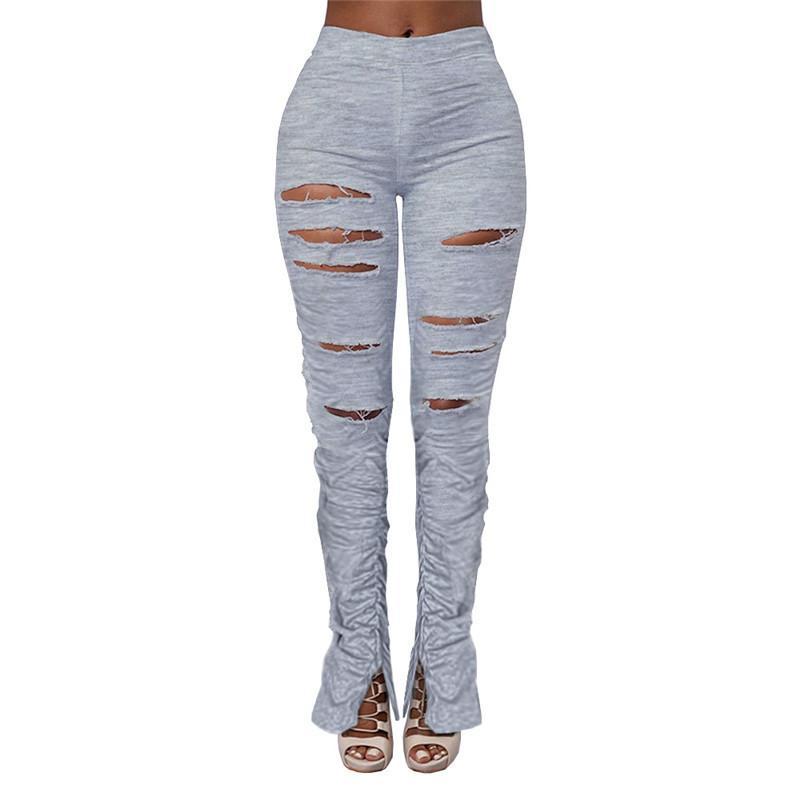 ANJAMANOR Hole Ripped плиссе Split штабелях поножи Sexy Ruched высокой талией брюки карандаш Женщины Одежда Серый Sweatpants D74-AD43 T200603