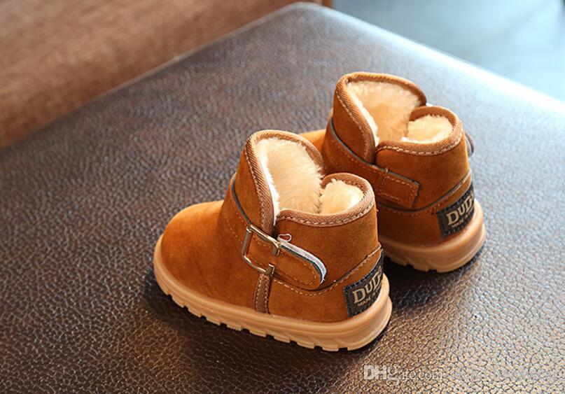 Kız Erkek Kar botları Kış Çocuk Pamuk ayakkabı Rahat, sıcak Yarım bot İnek Muscle Bebek ayakkabıları Çocuk çizmeler Siyah Kahverengi Gül