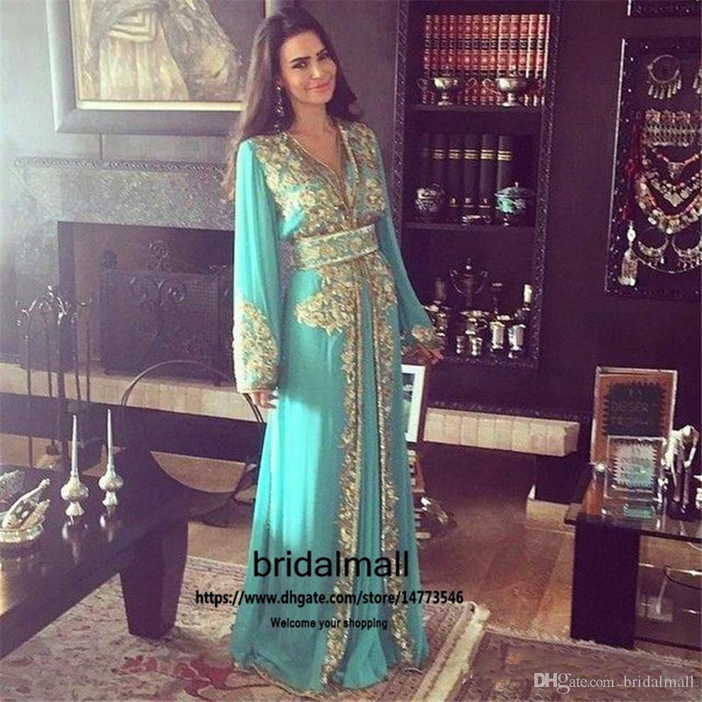 Gouden Applicaties Lange Mouwen Avondjurken 2020 V-hals Blue Chiffon Prom Dress Arabische Dubai Lange Kaftan Formele Partyjurken Gewaden De Soirée