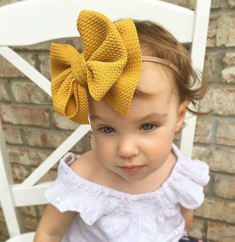 Free DHL INS 16 Colors Cute Big Bow Hairband Baby Girls Toddler Kids Elastic Headband Knotted Turban Head Wraps Bow-knot Hair Accessories