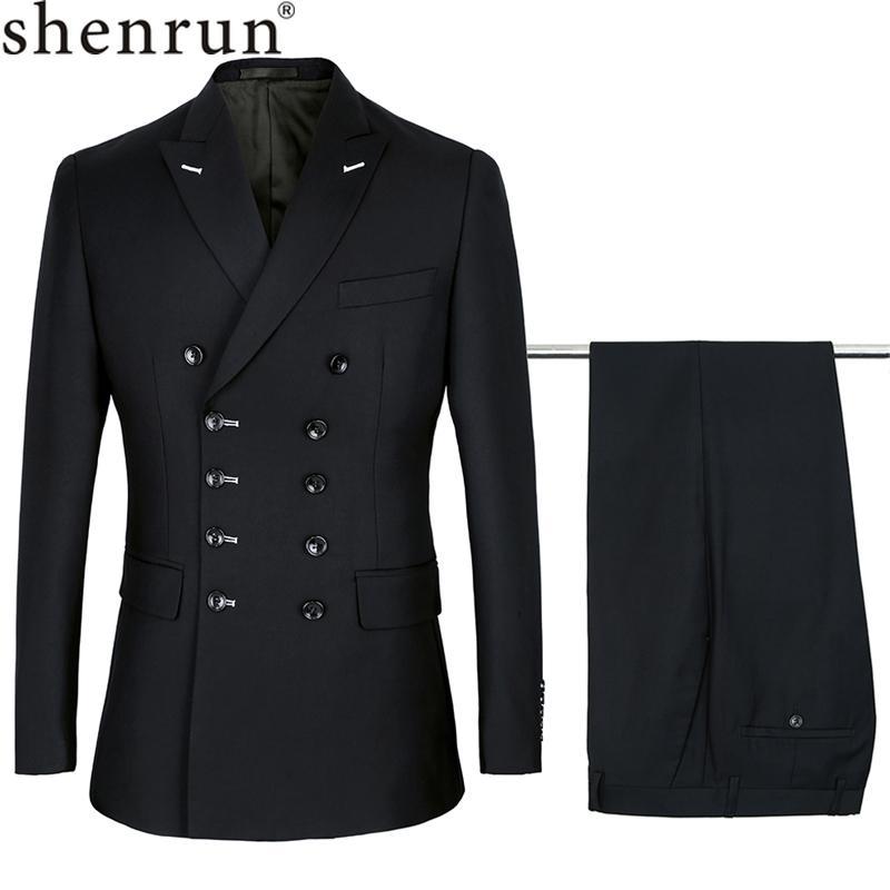 Shenrun 남성 슬림핏 새로운 패션 정장 더블 브레스트 피크 라펠 네이비 블루 블랙 웨딩 신랑 파티 댄스 파티 스키니 의상 Y200107 정장