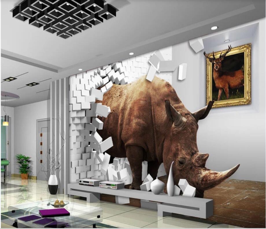 3D adesivo personalizado parede da sala wallpaper foto Rhino 3d parede murais criativo parede de tijolos espaço decoração TV fundo papel de parede para paredes 3 d