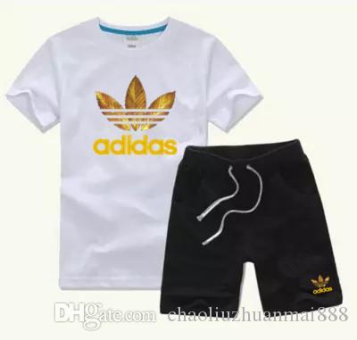 2020 새로운 패션 사진 브랜드 키즈 아동 T 셔츠와 반바지 바지 어린이 운동복 아동 스포츠 정장 2 PC를 짧은 소매 (168)를 설정합니다