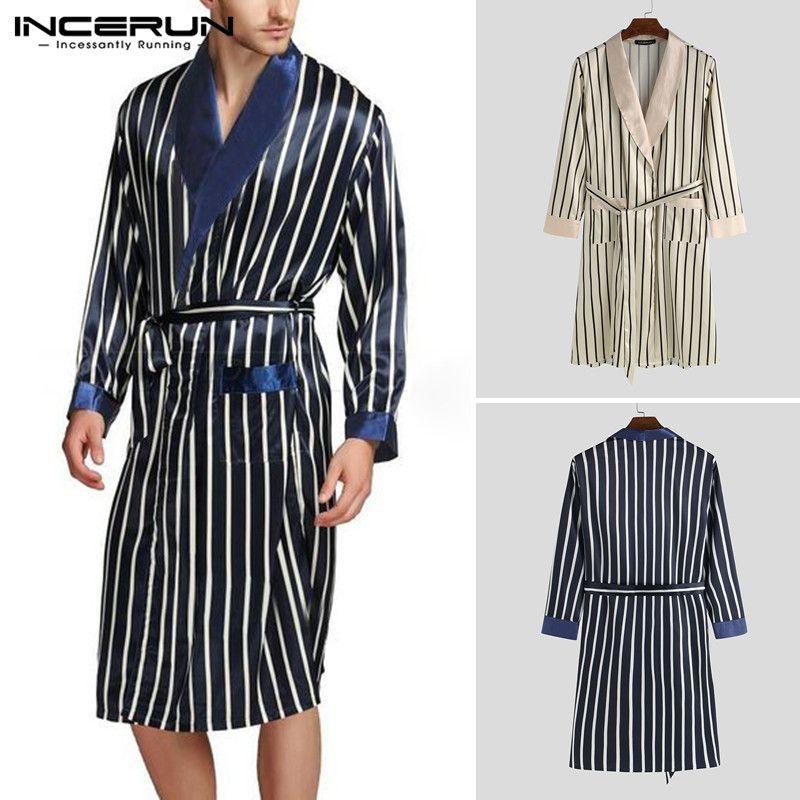 2020 Primavera Moda Hombres Batas camisón casual de rayas con cuello en V manga larga suave floja Homewear albornoces hombres Pijamas kimono 5XL