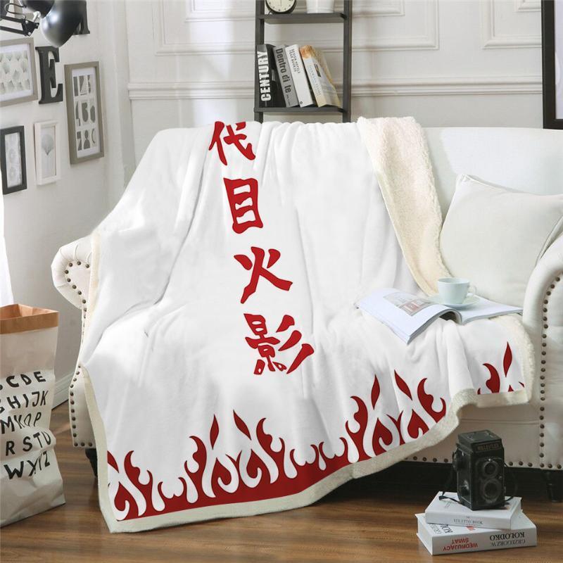 Manta viendo anime Naruto Namikaze Minato impresión doble terciopelo Inicio Sofá sherpa manta en camas paño grueso y suave edredón camping