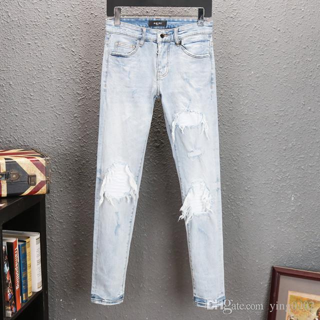 Мужские джинсы дизайнер Мужчины хип-хоп Байкер Джинсы Полосатый Хлопок джинсовой будущее пересечения Мужчины Жан мужские рваные джинсы роскошные штаны