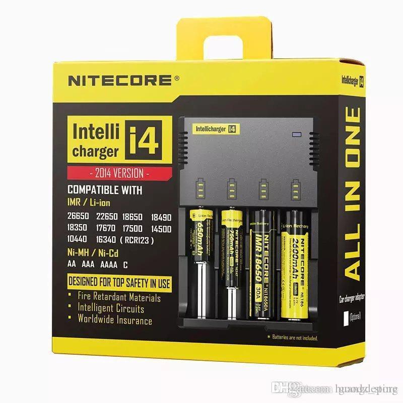 Original nitecore i4 universal ladegerät e cigs elektronische zigaretten ladegerät für 18650 18500 26650 i2 d2 d4nitecore i4 ladegerät unive