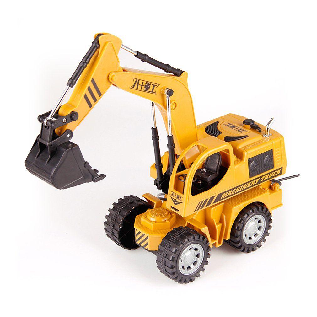 Alta Simulação Engenharia Alloy Veículo 5CH fio de controle modelo de carro escavadora Brinquedos com luz metal Castings Toy melhores presentes
