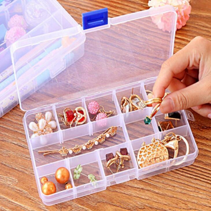 Plastic 15 Grids Compartimento ajustável de jóias caixa Brinco transparente caixa de armazenamento titular caso organizador Caixas LX2096