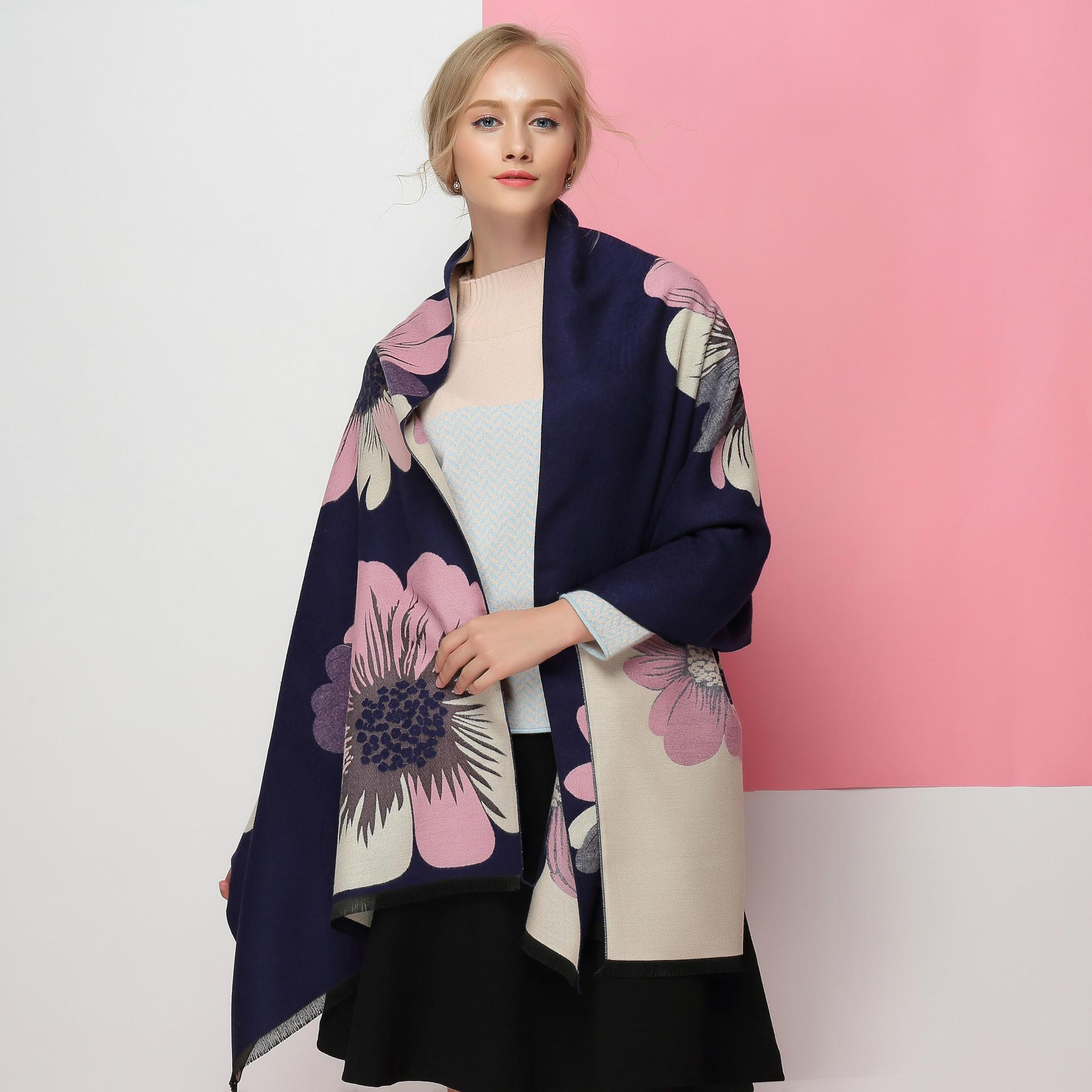 2019 New autumn and winter women's high-end gift neck double sided fashion warm shawl thick large flower designer scarf