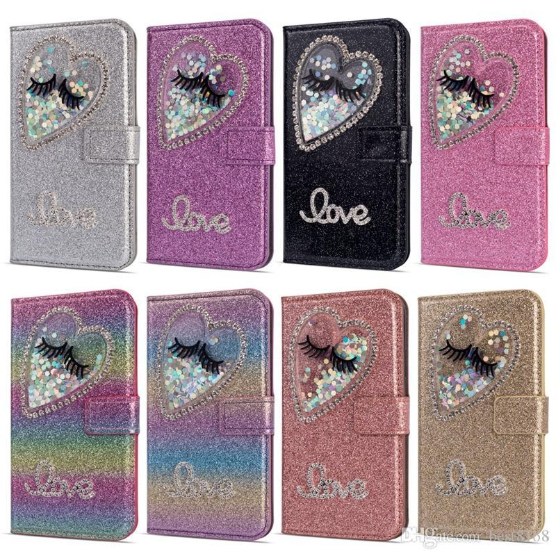 Bling Augen Liebe Herz Brieftasche Leder Für iPhone XS MAX XR X 8 7 6 5 Galaxy S10 S10e S9 Fall Luxus Glitter Diamond Sparkle Flip Hülle