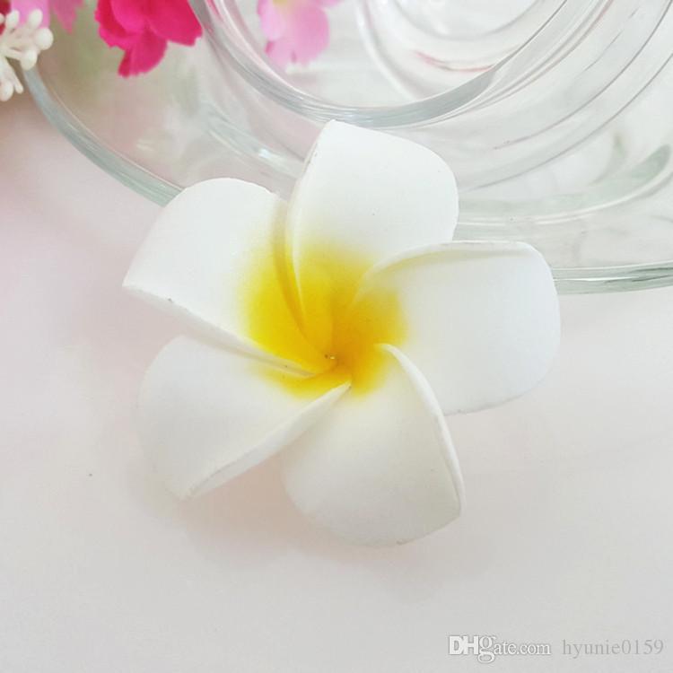100pcs 4cm 7colors hawaiische reale Note künstliche Plumeriablume DIY Haarzusatz pe frangipani Hochzeitsfestdekoration