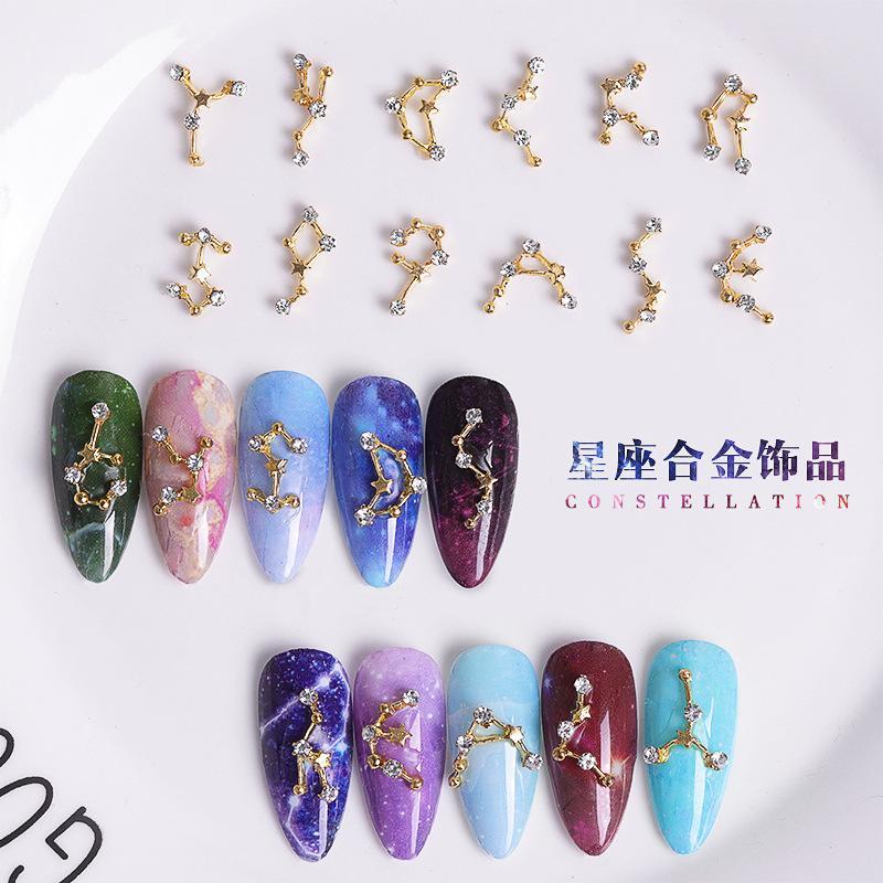 100pcs Corée Japon 12 Constellations 3D Golden strass cristal strass Nail Art Décorations Accessoires de manucure Nouvelle arrivée