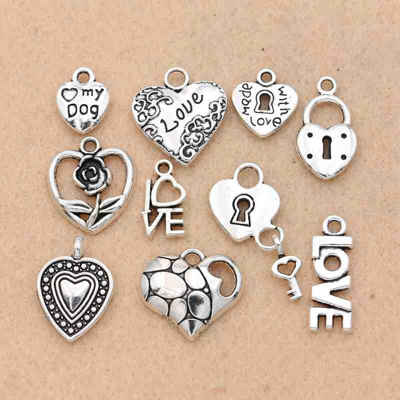 Lot 50 Mixed Leaves Tibetan Silver Charm Pendants DIY Jewelry Craft Findings