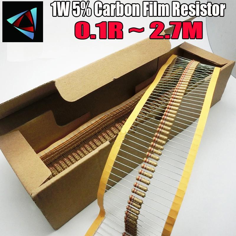 1000 قطع 1 واط 0.1R ~ 2.7 متر 5٪ الكربون السينمائي المقاوم 100r 220r 1 كيلو 1.5 كيلو 2.2 كيلو 4.7 كيلو 10 كيلو 22 كيلو 47 كيلو 100 كيلو 0.22 0.33 0.47 0.68 أوم المقاومة