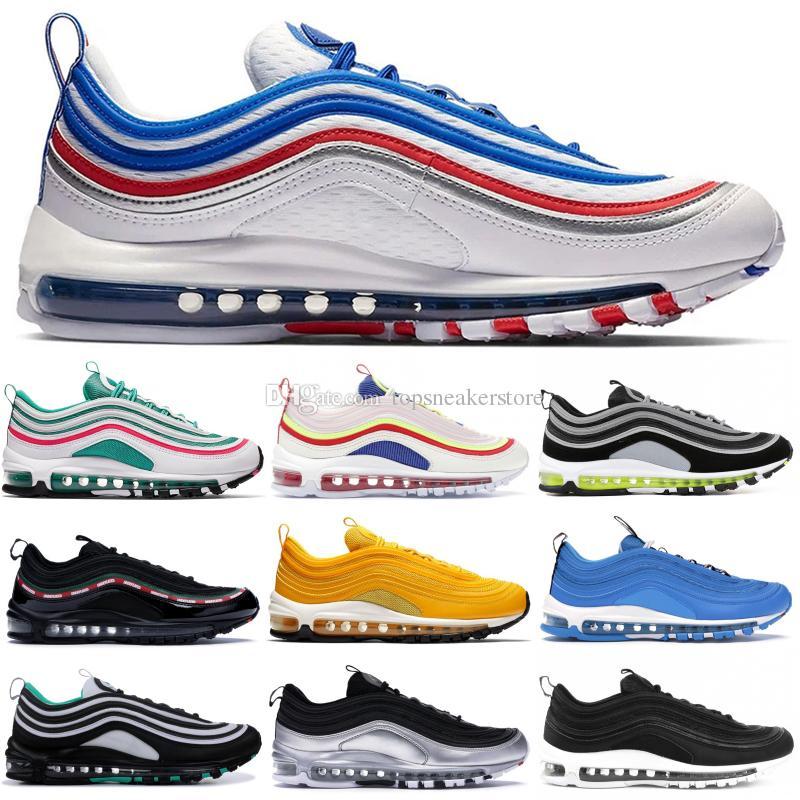 OG QS Designer Running Shoes Undftd Negro Pull Tab Mustard Silver Bullet Fashion 97s Japón OG Hombres Mujeres Deportes Zapatillas 36-45