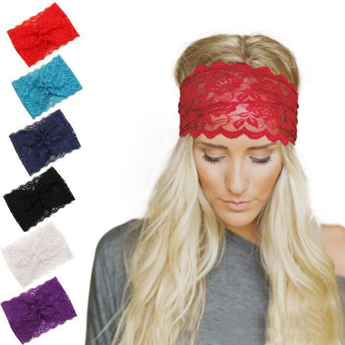 Девушки Женщины милые кружева Упругие оголовье Lady банданы Head Обертывания Черный Hairband диапазона волос аксессуары