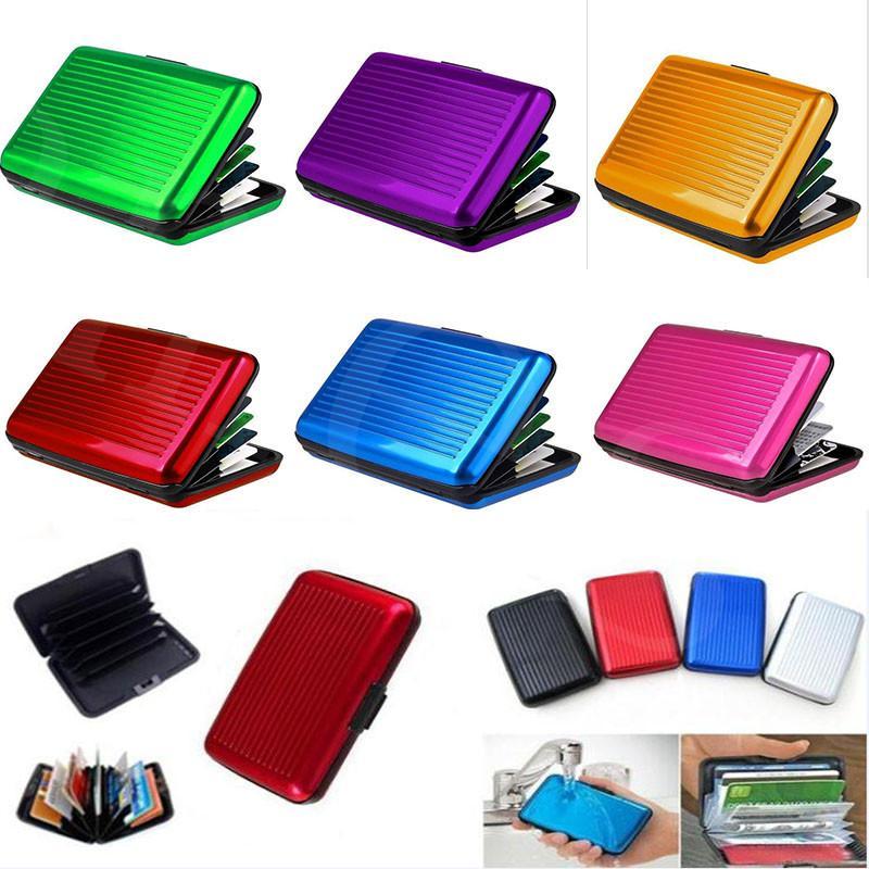 10 ألوان الألومنيوم معرف الأعمال بطاقة الائتمان محفظة ماء rfid بطاقة حامل جيب حالة مربع الشحن السريع DC904