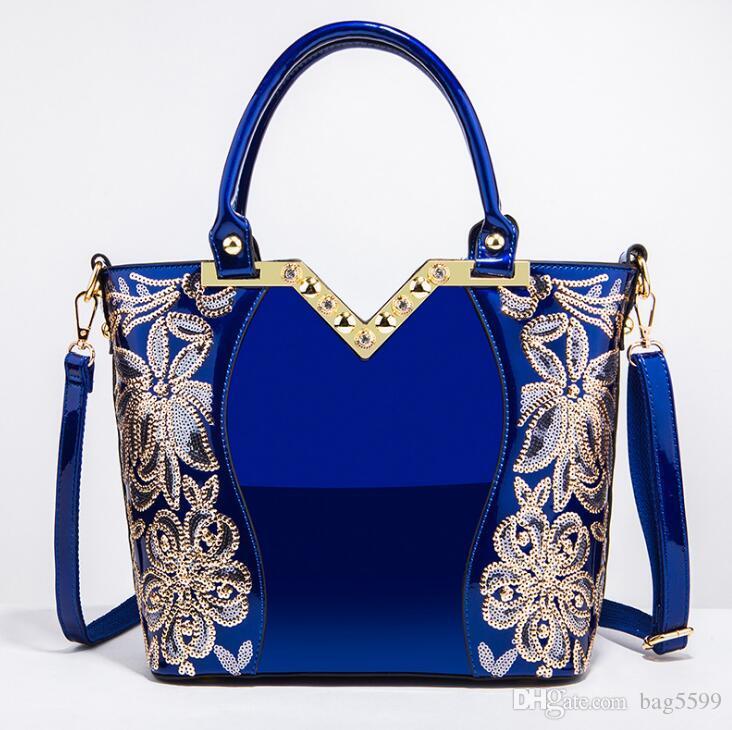 HBP New European and American fashion black embroidered bright leather shoulder bag handbag handbag patent leather shoulder bag