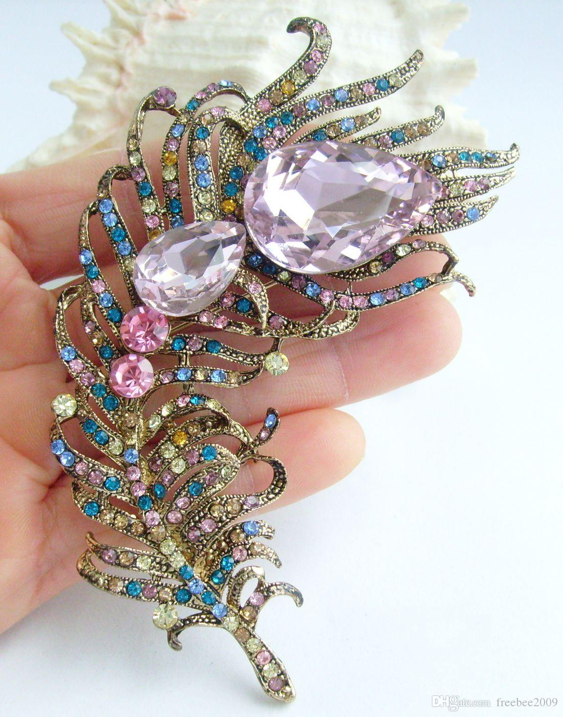 "Art Nouveau 4.33"" Multicolor Crystal Rhinestone Peacock Feather Animal Brooch Pin Pendant EE05038C9"