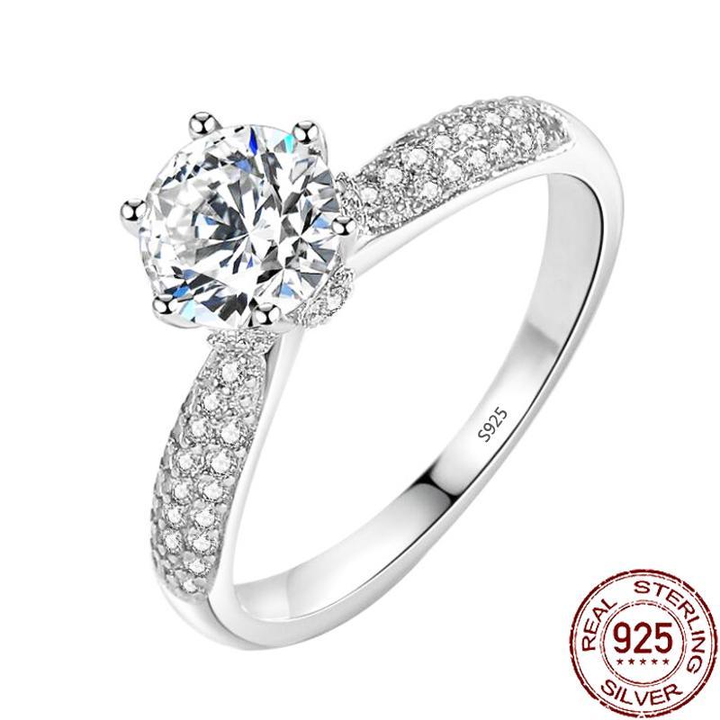 Trendy Luxury 925 Sterling Silver Ring for Women 6mm Zirconia Diamond Wedding Engagement Fine Jewelry Girl XR406