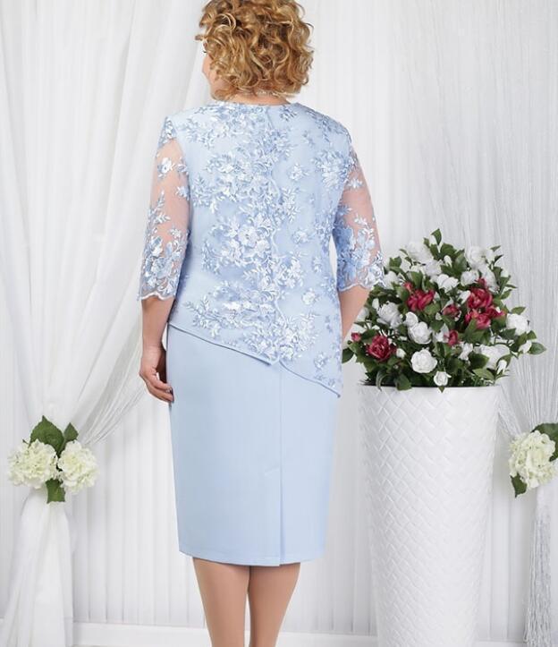 Robe Costumes Femmes Faux deux pièces élégante mère de la mariée en dentelle Robes Big Taille Plus 5XL mariage formel Robe Invité Wear 2020