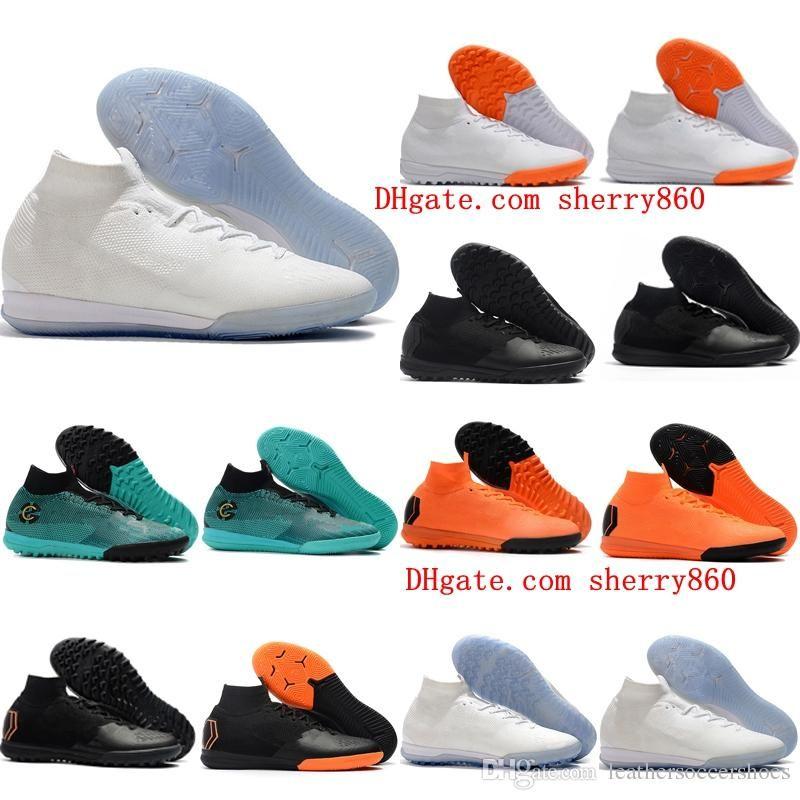 2019 erkek çocuklar futbol futbol ayakkabıları erkek Mercurial Superfly 360 de SuperflyX 6 Elite TF kapalı futbol ayakkabıları çim gençlik Kramponlar pervazları