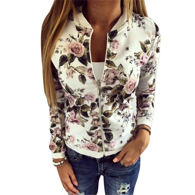 Chaqueta Negro O cuello de las mujeres chaqueta de bombardero de la capa de impresión Negro floral ocasionales del tamaño ropa de vestir exteriores de la cremallera básico abrigos chaquetas Plus