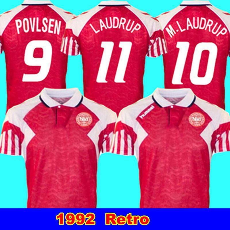1992 Dinamarca casero retro 1.992 euros danesa hogar final clásica camiseta Lauder Povlsen 92 Dinamarca hombres retros camiseta de fútbol M. Laudrup 10