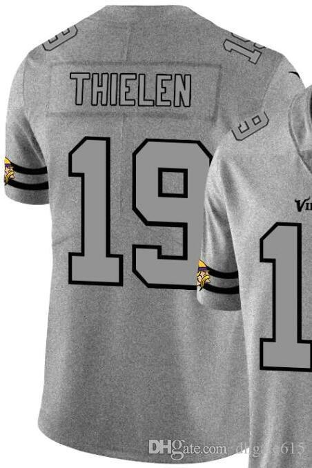 2020 Homme Minnesota 19 Chemise en jersey brodé et 100% chanvre piquées Ash Throwback Limited Jersey Jersey Football américain