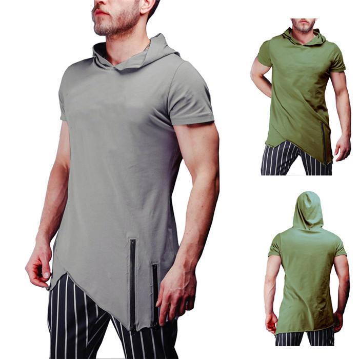 Kısa Kollu Mürettebat Boyun Erkek Casual Slim Erkek Giyim Kasetli Kapşonlu Katı Renk Erkek tişörtleri Tops