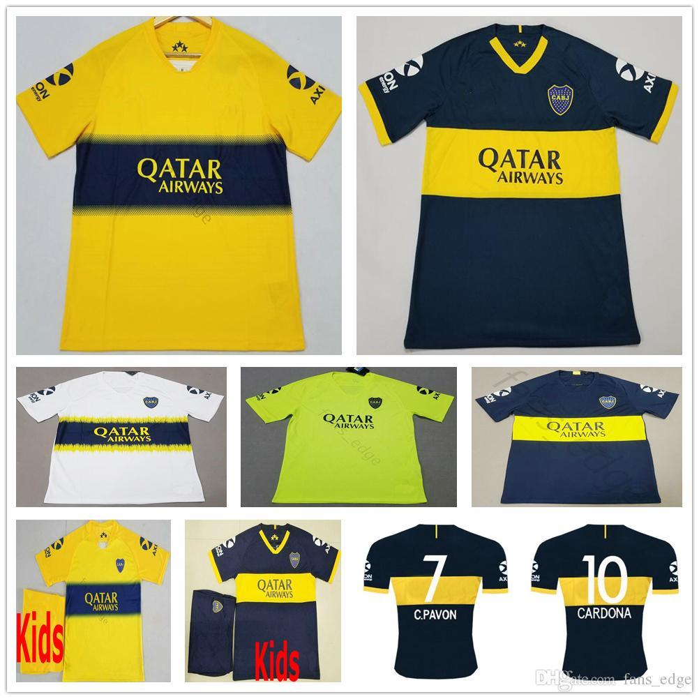 2019 Boca Juniors Soccer Jersey 8 Perez 5 Gago Benedetto 7 Pavon 10 Carlitos TEVEZ Custom Home Away Adult Kids Football Shirt
