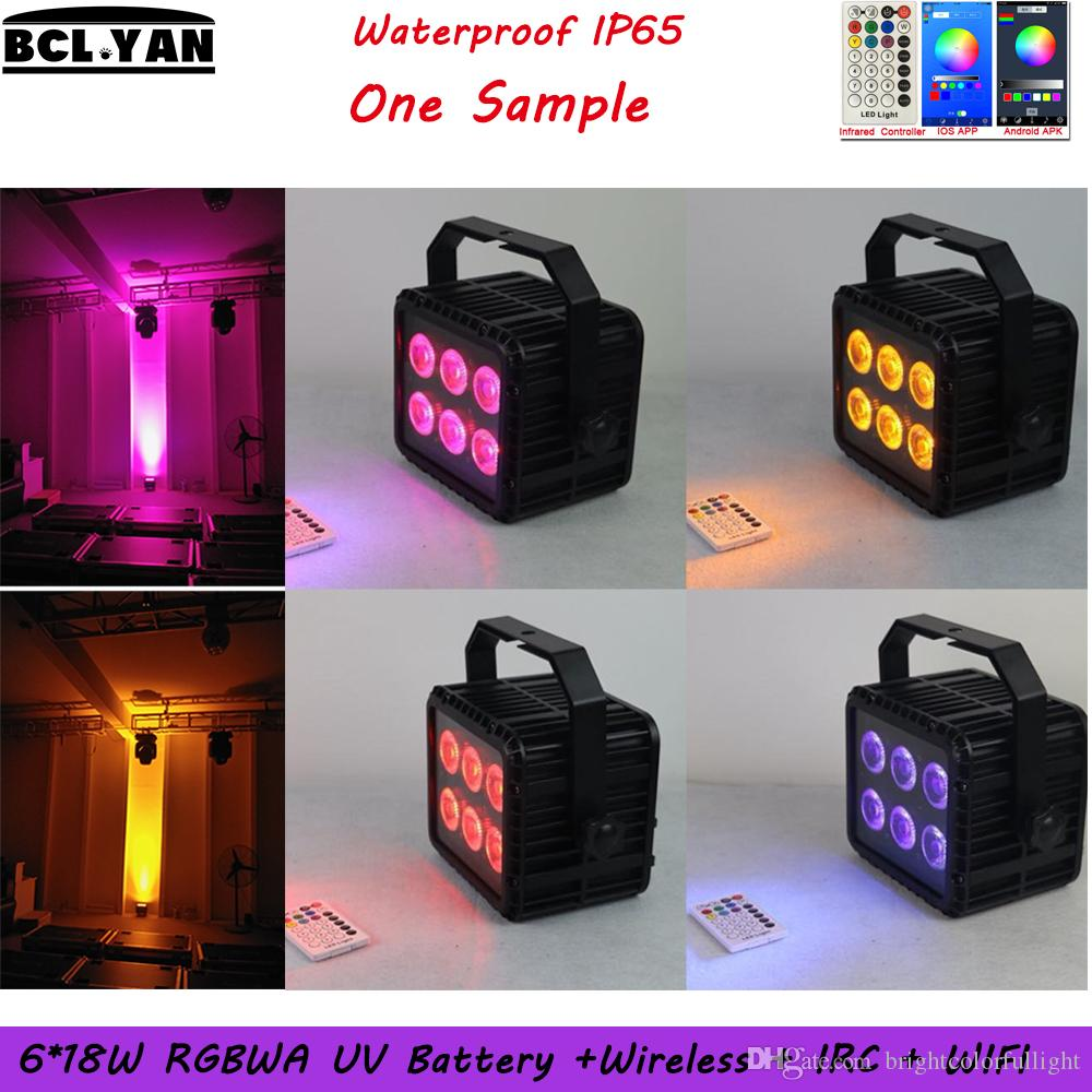 Sample order WIFI Phone app control waterproof battery wireless dmx led wall washer with IRC remote 6*18w RGBWAP 6 IN 1 uplight