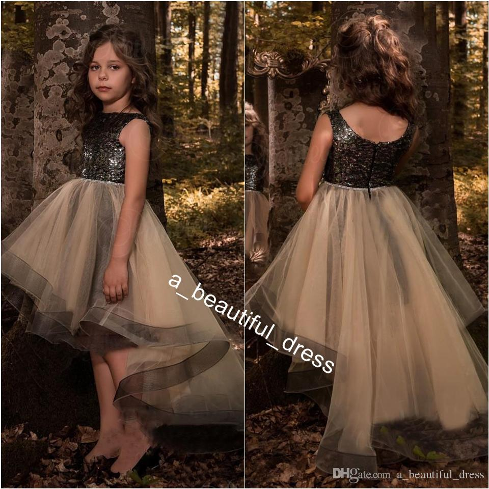 Little Black High Low Flower Girls Dresses For Weddings Sequins Appliqued New Kids First Communion Dress Custom Made Pageant Gowns FG1292