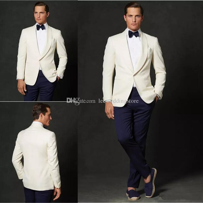 Latest designs Handsome Ivory Men Suits For Wedding Suits Blazer Slim Fit Groom Wear Tuxedos Business Suits 2Pieces Best Man Jacket+Pants